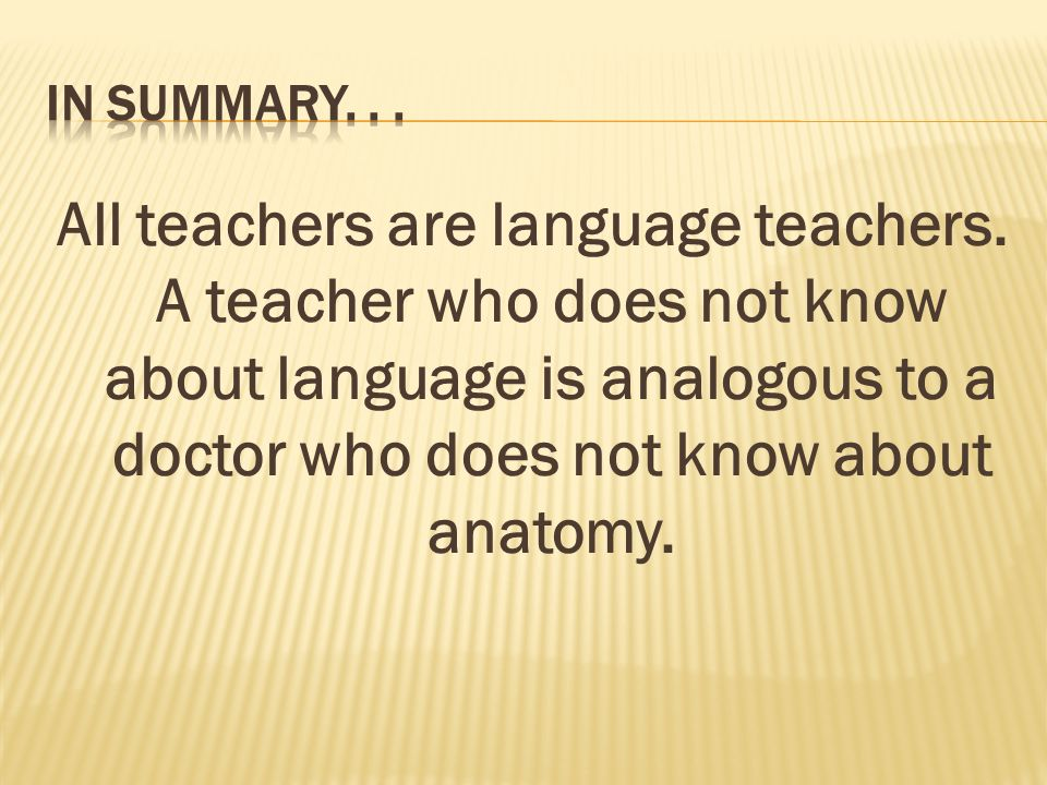 All teachers are language teachers.