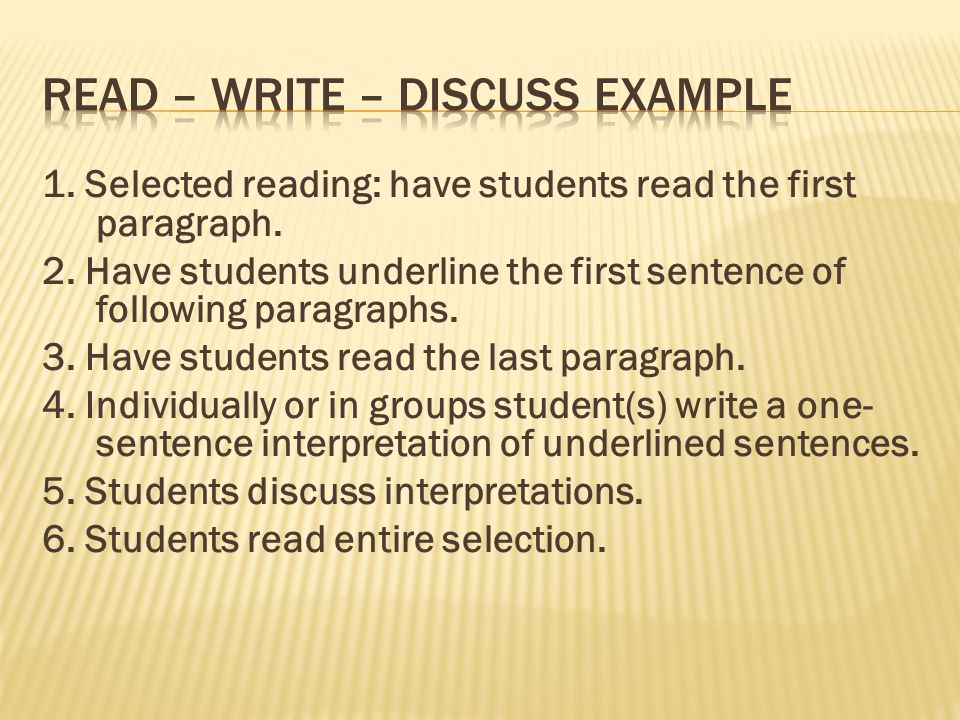 1. Selected reading: have students read the first paragraph.
