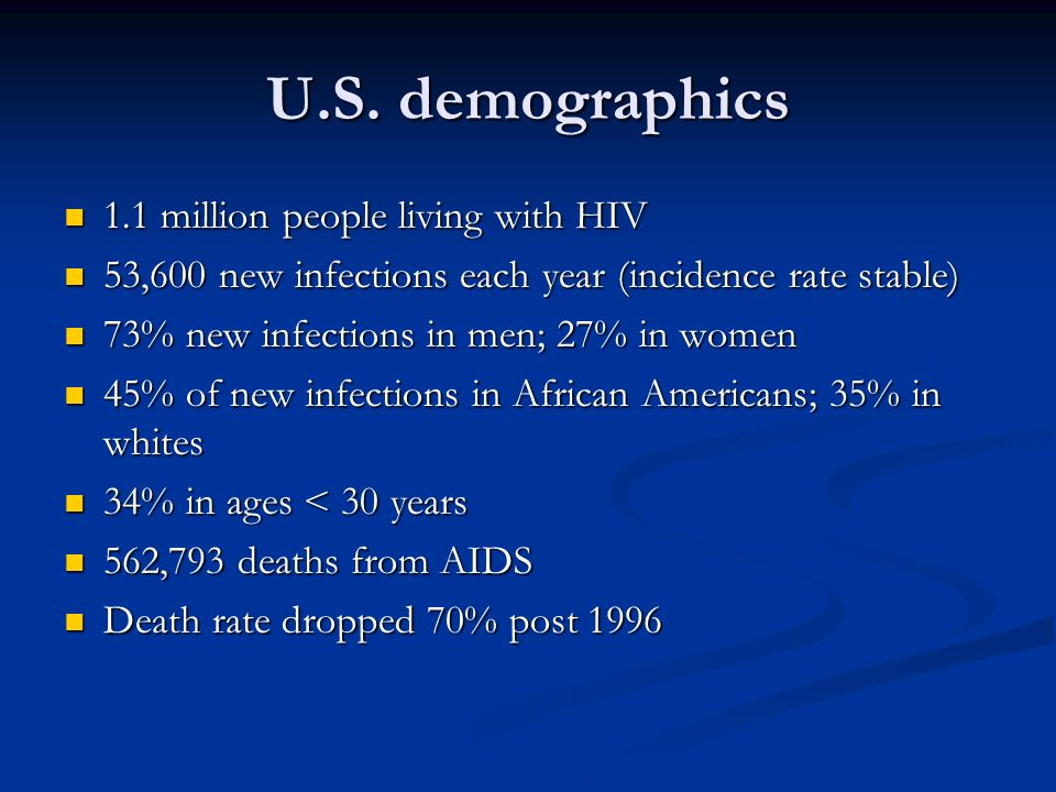 U.S. demographics 1.1 million people living with HIV 1.1 million people living with HIV 53,600 new infections each year (incidence rate stable) 53,600
