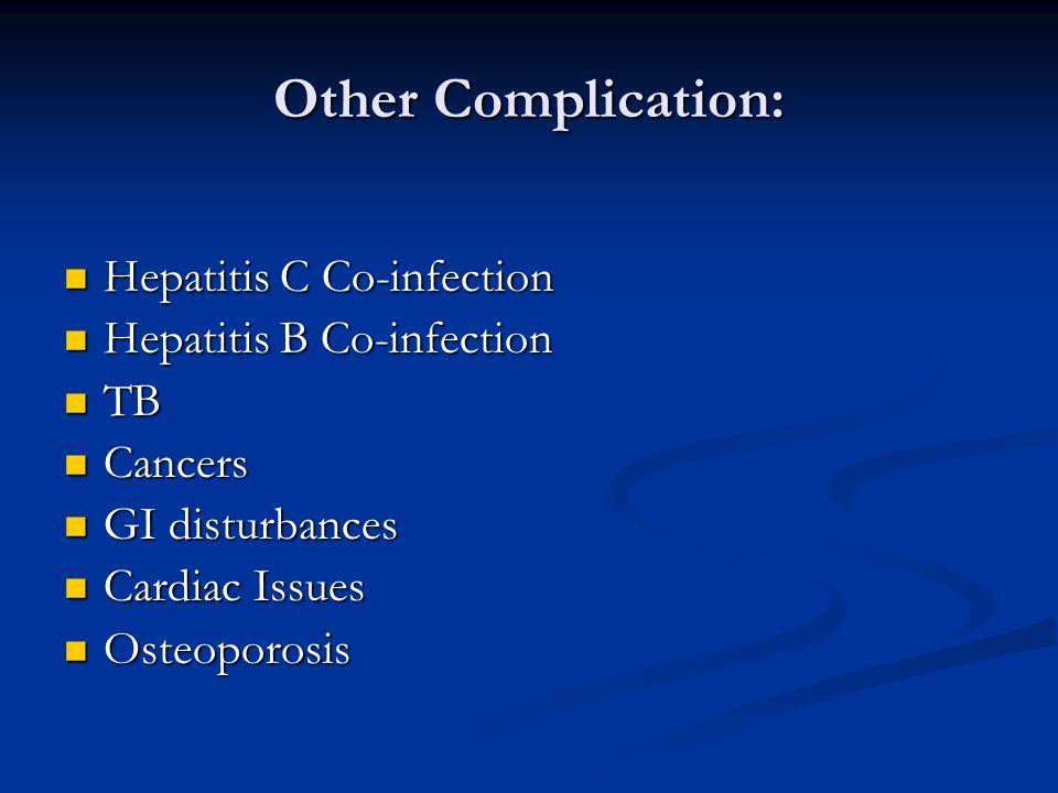 Other Complication: Hepatitis C Co-infection Hepatitis C Co-infection Hepatitis B Co-infection Hepatitis B Co-infection TB TB Cancers Cancers GI distu