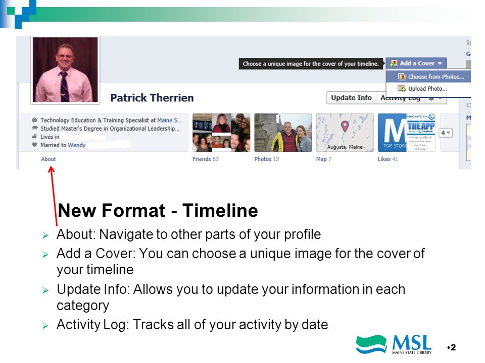 New Format - Timeline About: Navigate to other parts of your profile Add a Cover: You can choose a unique image for the cover of your timeline Update