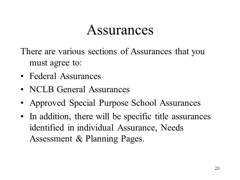 20 Assurances There are various sections of Assurances that you must agree to: Federal Assurances NCLB General Assurances Approved Special Purpose School Assurances In addition, there will be specific title assurances identified in individual Assurance, Needs Assessment & Planning Pages.