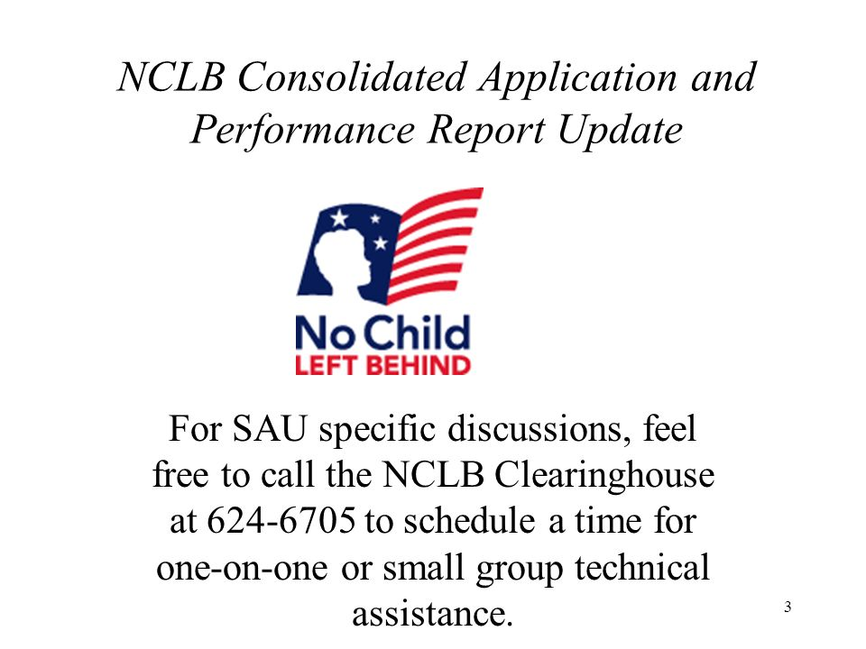 3 NCLB Consolidated Application and Performance Report Update For SAU specific discussions, feel free to call the NCLB Clearinghouse at 624-6705 to schedule a time for one-on-one or small group technical assistance.