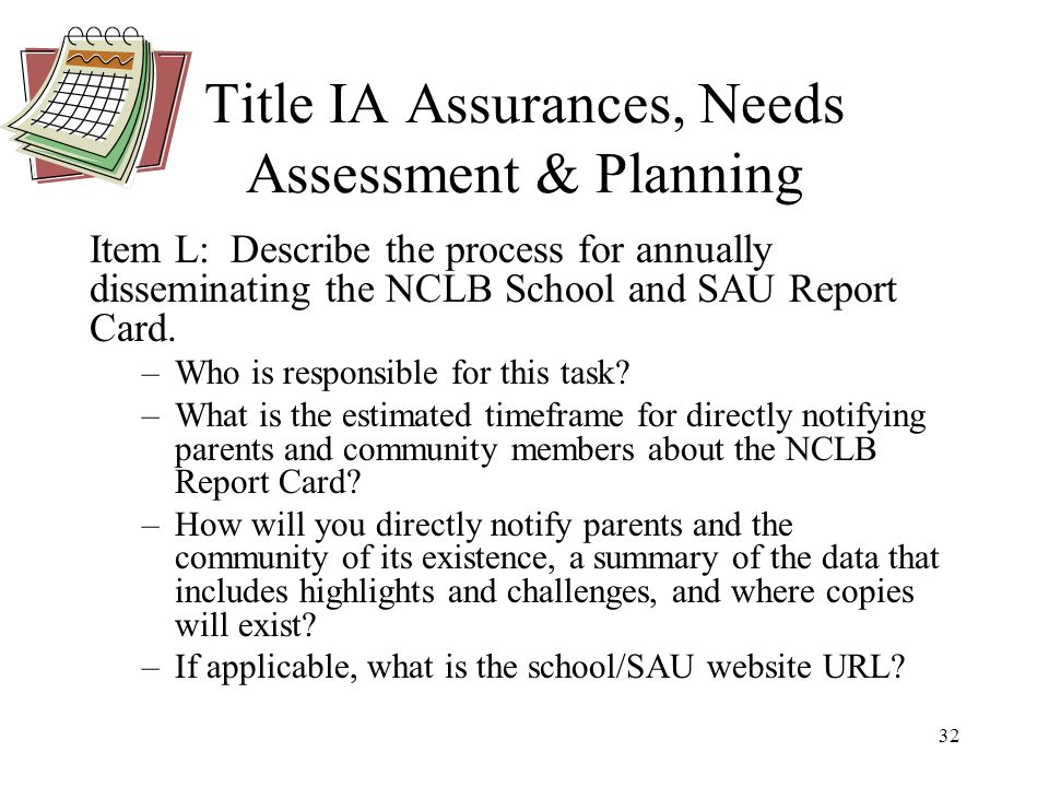 32 Title IA Assurances, Needs Assessment & Planning Item L: Describe the process for annually disseminating the NCLB School and SAU Report Card.