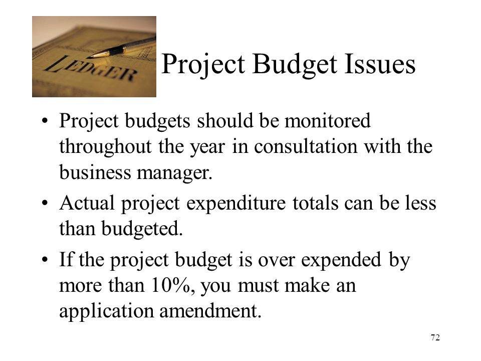 72 Project Budget Issues Project budgets should be monitored throughout the year in consultation with the business manager.