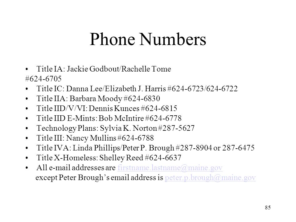 85 Phone Numbers Title IA: Jackie Godbout/Rachelle Tome #624-6705 Title IC: Danna Lee/Elizabeth J.