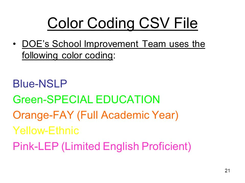 21 Color Coding CSV File DOEs School Improvement Team uses the following color coding: Blue-NSLP Green-SPECIAL EDUCATION Orange-FAY (Full Academic Yea
