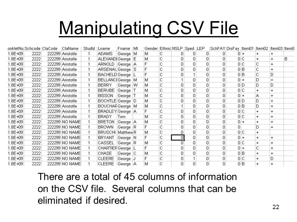 22 Manipulating CSV File There are a total of 45 columns of information on the CSV file.