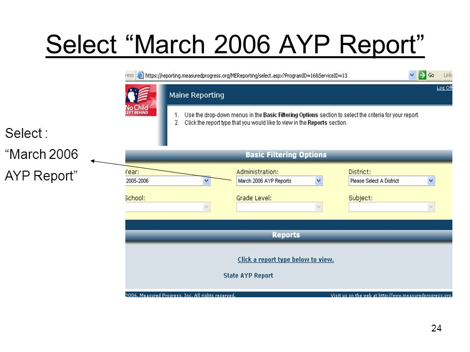 24 Select March 2006 AYP Report Select : March 2006 AYP Report