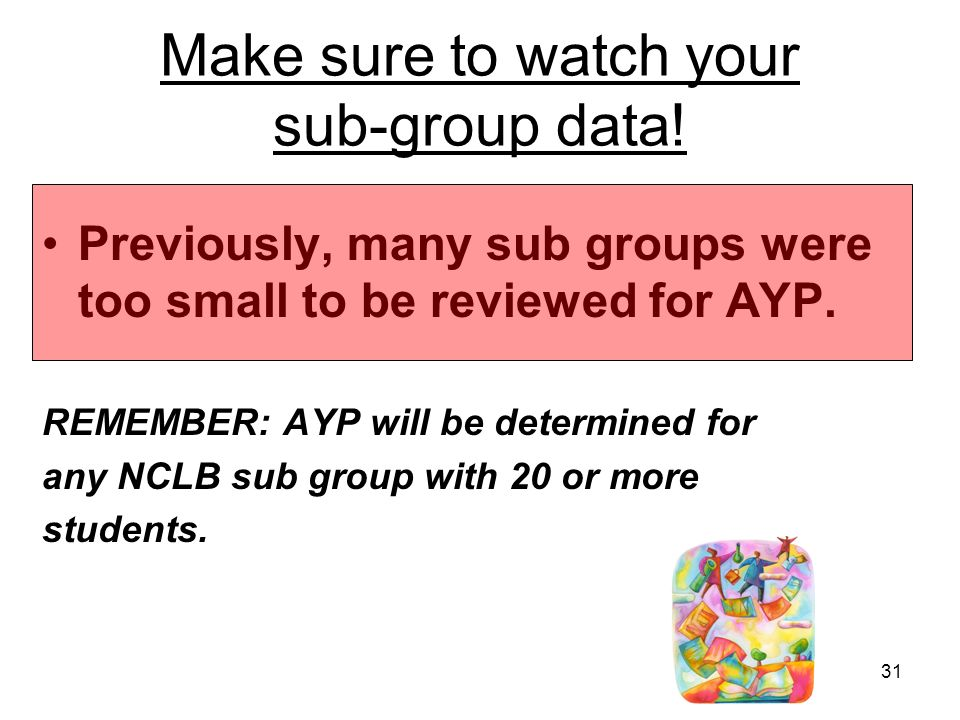 31 Make sure to watch your sub-group data.