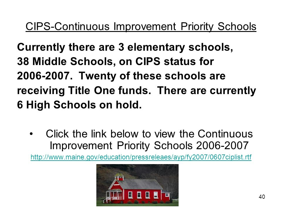 40 CIPS-Continuous Improvement Priority Schools Currently there are 3 elementary schools, 38 Middle Schools, on CIPS status for 2006-2007. Twenty of t