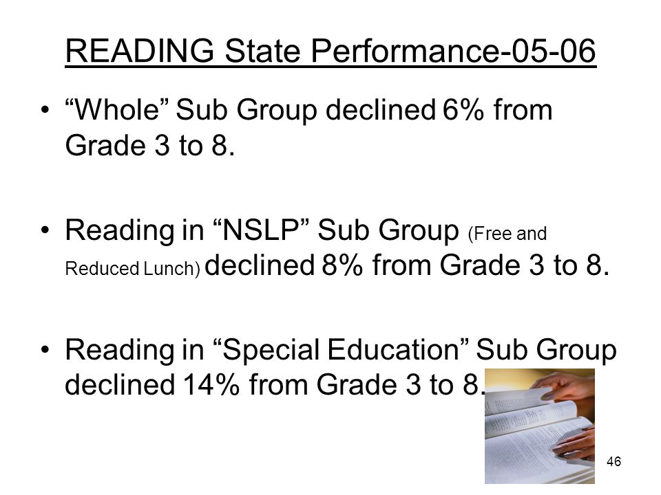 46 READING State Performance-05-06 Whole Sub Group declined 6% from Grade 3 to 8. Reading in NSLP Sub Group (Free and Reduced Lunch) declined 8% from