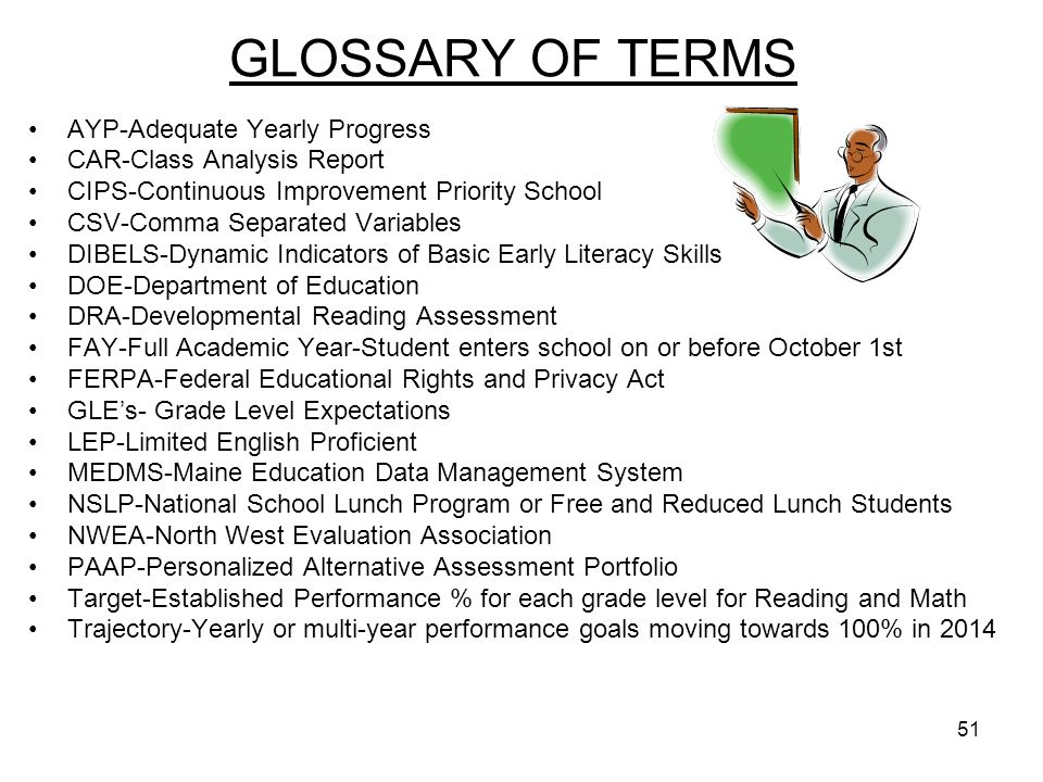 51 GLOSSARY OF TERMS AYP-Adequate Yearly Progress CAR-Class Analysis Report CIPS-Continuous Improvement Priority School CSV-Comma Separated Variables