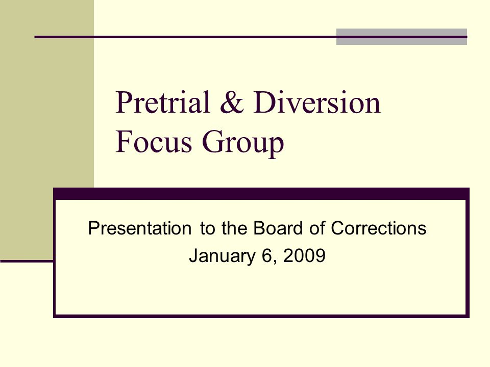 Pretrial & Diversion Focus Group Presentation to the Board of Corrections January 6, 2009