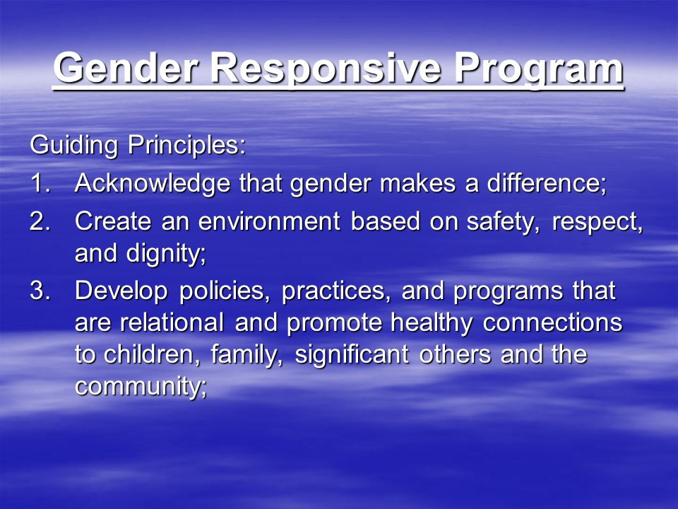 Gender Responsive Program Guiding Principles: 1.Acknowledge that gender makes a difference; 2.Create an environment based on safety, respect, and dignity; 3.Develop policies, practices, and programs that are relational and promote healthy connections to children, family, significant others and the community;