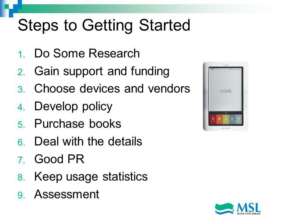 Steps to Getting Started 1. Do Some Research 2. Gain support and funding 3.