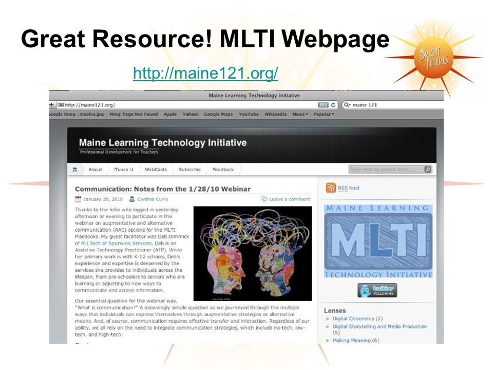 Great Resource! MLTI Webpage http://maine121.org/