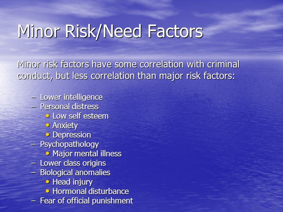 Minor Risk/Need Factors Minor risk factors have some correlation with criminal conduct, but less correlation than major risk factors: –Lower intellige