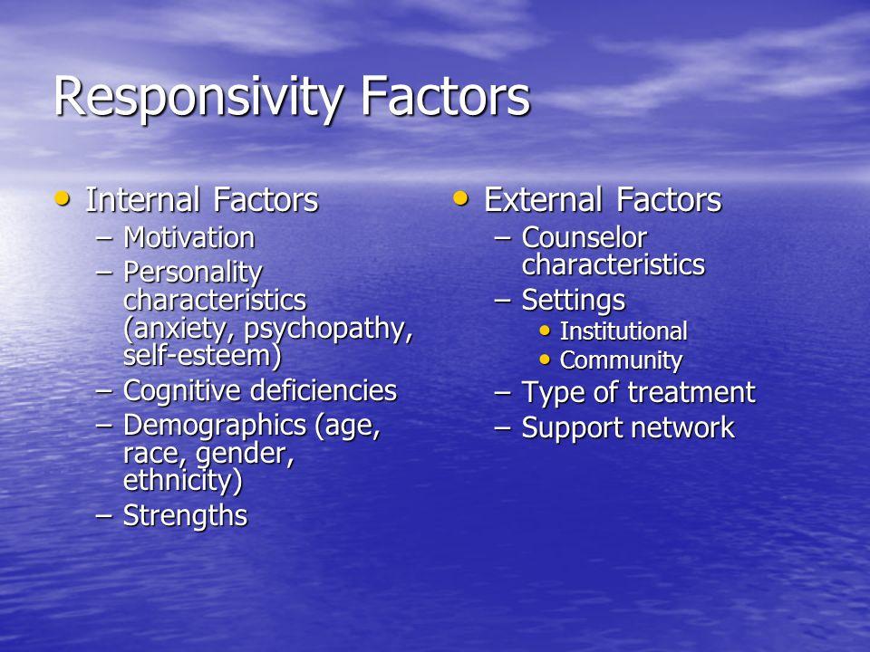 Responsivity Factors Internal Factors Internal Factors –Motivation –Personality characteristics (anxiety, psychopathy, self-esteem) –Cognitive deficie
