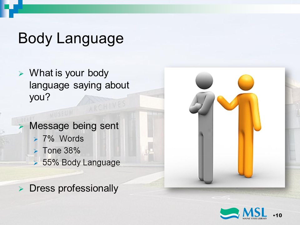 Body Language What is your body language saying about you? Message being sent 7% Words Tone 38% 55% Body Language Dress professionally 10