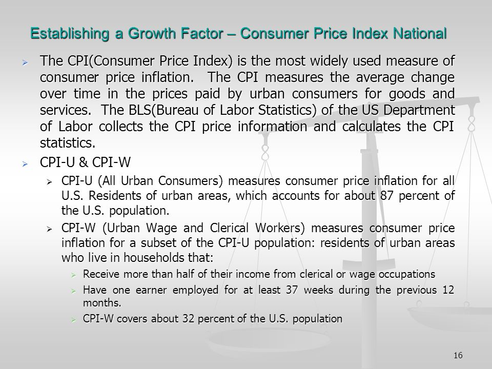 16 Establishing a Growth Factor – Consumer Price Index National The CPI(Consumer Price Index) is the most widely used measure of consumer price inflation.