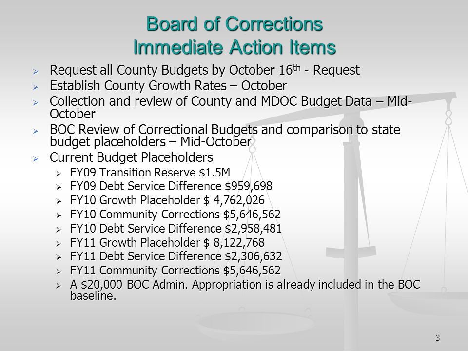 3 Board of Corrections Immediate Action Items Request all County Budgets by October 16 th - Request Request all County Budgets by October 16 th - Request Establish County Growth Rates – October Establish County Growth Rates – October Collection and review of County and MDOC Budget Data – Mid- October Collection and review of County and MDOC Budget Data – Mid- October BOC Review of Correctional Budgets and comparison to state budget placeholders – Mid-October BOC Review of Correctional Budgets and comparison to state budget placeholders – Mid-October Current Budget Placeholders Current Budget Placeholders FY09 Transition Reserve $1.5M FY09 Transition Reserve $1.5M FY09 Debt Service Difference $959,698 FY09 Debt Service Difference $959,698 FY10 Growth Placeholder $ 4,762,026 FY10 Growth Placeholder $ 4,762,026 FY10 Community Corrections $5,646,562 FY10 Community Corrections $5,646,562 FY10 Debt Service Difference $2,958,481 FY10 Debt Service Difference $2,958,481 FY11 Growth Placeholder $ 8,122,768 FY11 Growth Placeholder $ 8,122,768 FY11 Debt Service Difference $2,306,632 FY11 Debt Service Difference $2,306,632 FY11 Community Corrections $5,646,562 FY11 Community Corrections $5,646,562 A $20,000 BOC Admin.