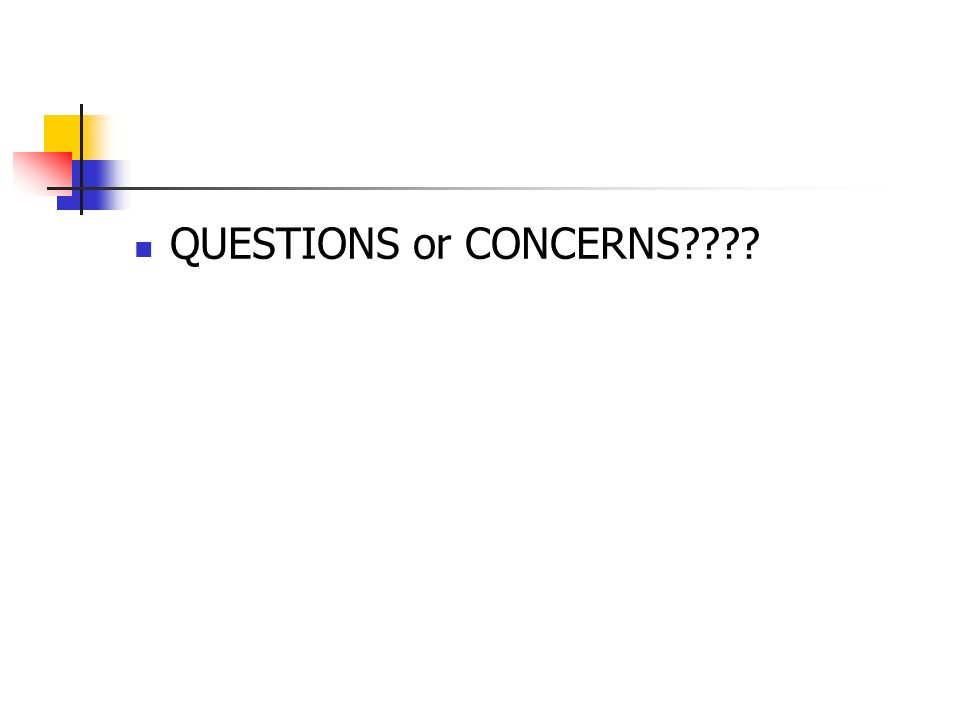 QUESTIONS or CONCERNS????