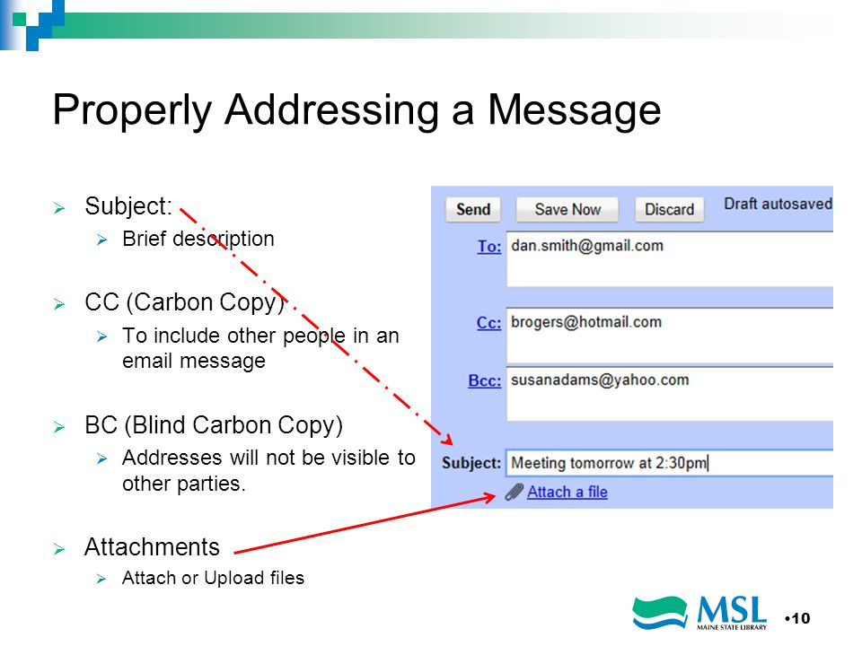 Properly Addressing a Message Subject: Brief description CC (Carbon Copy) To include other people in an email message BC (Blind Carbon Copy) Addresses