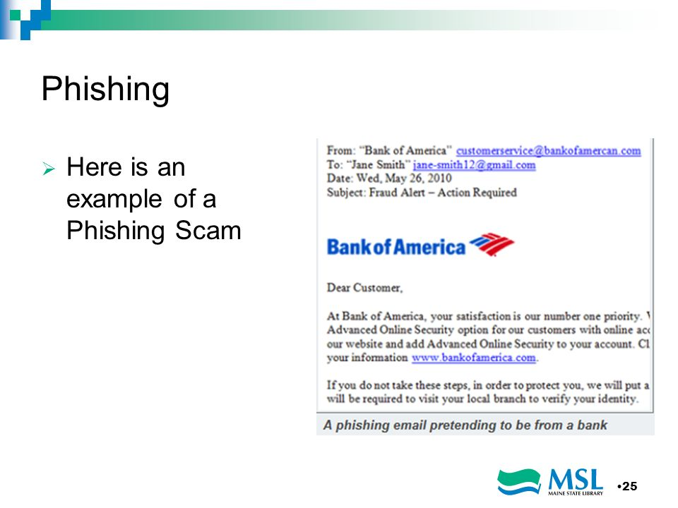 Phishing Here is an example of a Phishing Scam 25