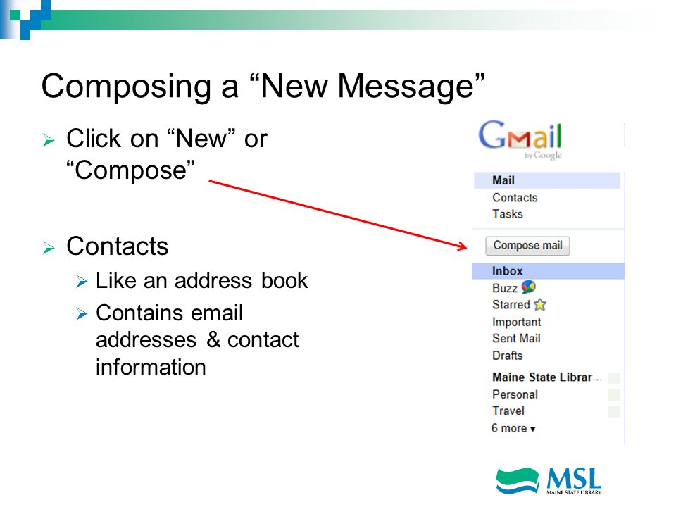 Composing a New Message Click on New or Compose Contacts Like an address book Contains email addresses & contact information