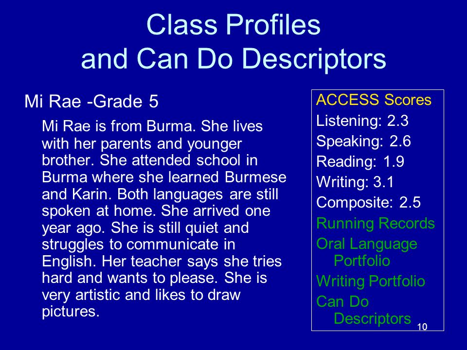 10 Class Profiles and Can Do Descriptors Mi Rae -Grade 5 Mi Rae is from Burma. She lives with her parents and younger brother. She attended school in