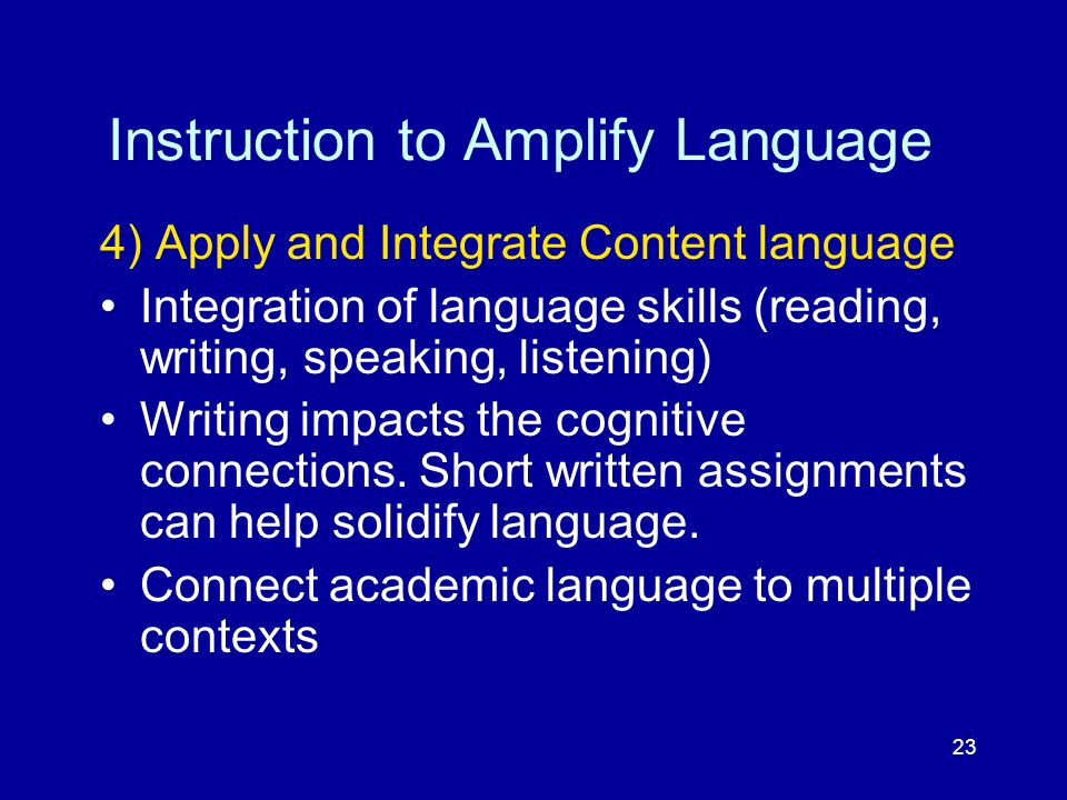 23 Instruction to Amplify Language 4) Apply and Integrate Content language Integration of language skills (reading, writing, speaking, listening) Writ