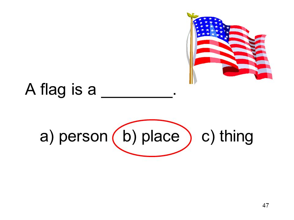 47 A flag is a ________. a) person b) placec) thing