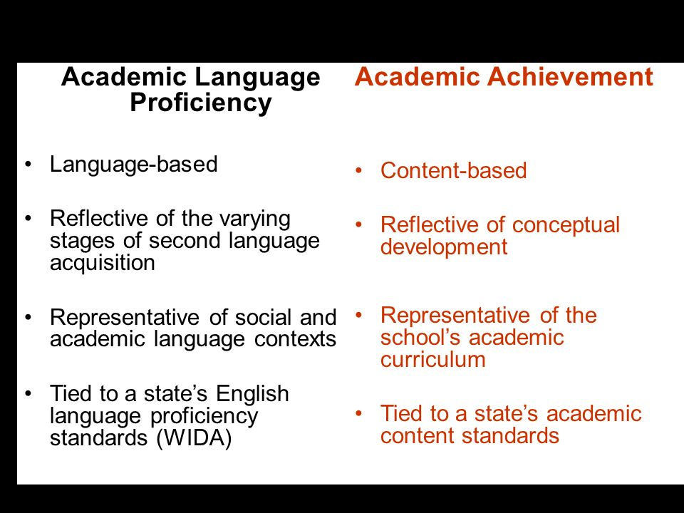 7 Academic Language Proficiency Language-based Reflective of the varying stages of second language acquisition Representative of social and academic l