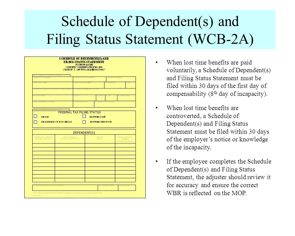 When lost time benefits are paid voluntarily, a Schedule of Dependent(s) and Filing Status Statement must be filed within 30 days of the first day of