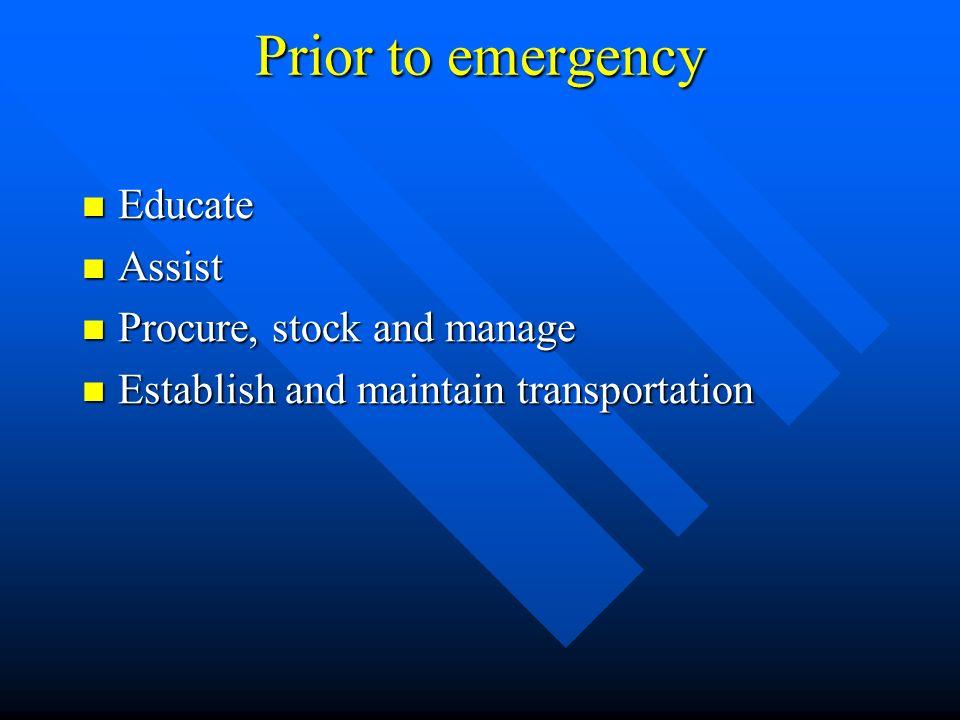 During an emergency Ship medical materiel Ship medical materiel Technical support Technical support