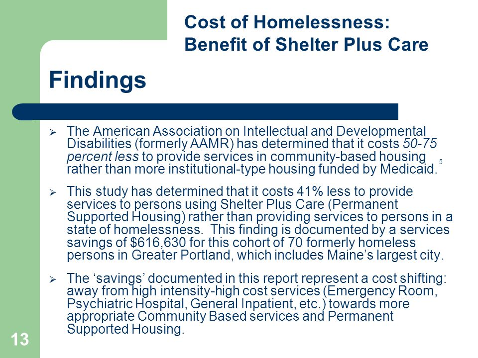 13 Findings The American Association on Intellectual and Developmental Disabilities (formerly AAMR) has determined that it costs 50-75 percent less to provide services in community-based housing rather than more institutional-type housing funded by Medicaid.