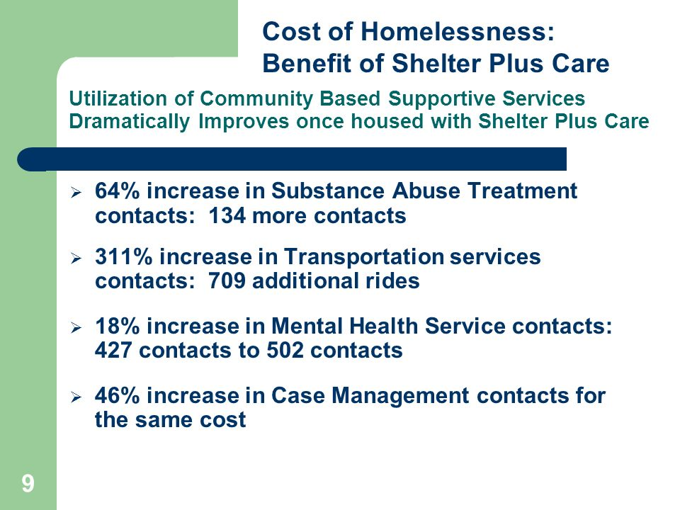9 Utilization of Community Based Supportive Services Dramatically Improves once housed with Shelter Plus Care 64% increase in Substance Abuse Treatment contacts: 134 more contacts 311% increase in Transportation services contacts: 709 additional rides 18% increase in Mental Health Service contacts: 427 contacts to 502 contacts 46% increase in Case Management contacts for the same cost Cost of Homelessness: Benefit of Shelter Plus Care
