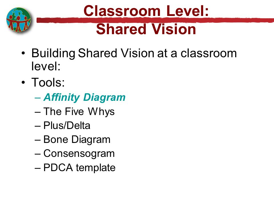 Building Shared Vision at a classroom level: Tools: –Affinity Diagram –The Five Whys –Plus/Delta –Bone Diagram –Consensogram –PDCA template Classroom