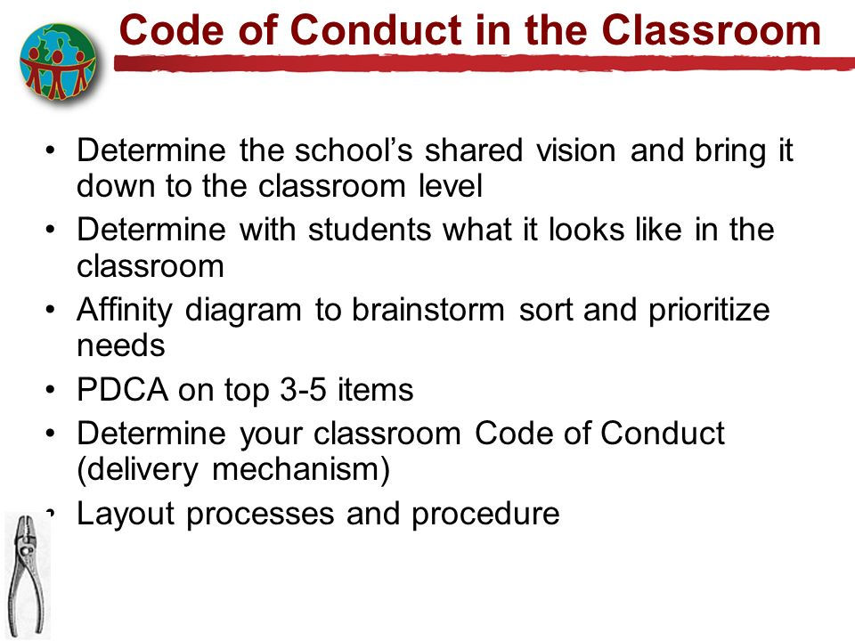 Code of Conduct in the Classroom Determine the schools shared vision and bring it down to the classroom level Determine with students what it looks like in the classroom Affinity diagram to brainstorm sort and prioritize needs PDCA on top 3-5 items Determine your classroom Code of Conduct (delivery mechanism) Layout processes and procedure