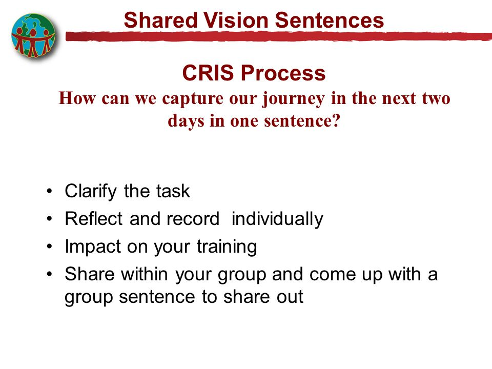 Shared Vision Sentences CRIS Process How can we capture our journey in the next two days in one sentence? Clarify the task Reflect and record individu