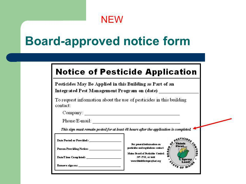 Board-approved notice form NEW