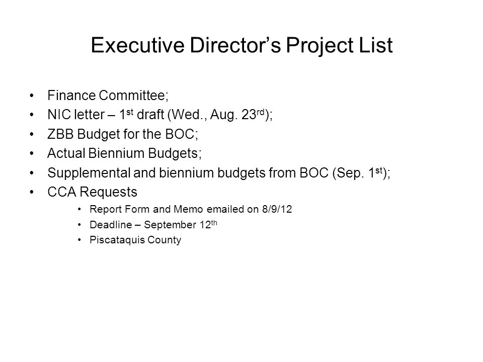 Executive Directors Project List Finance Committee; NIC letter – 1 st draft (Wed., Aug.