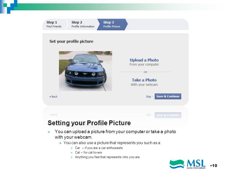 Setting your Profile Picture You can upload a picture from your computer or take a photo with your webcam.
