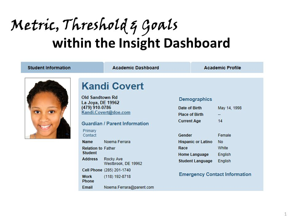 1 Metric, Threshold & Goals within the Insight Dashboard