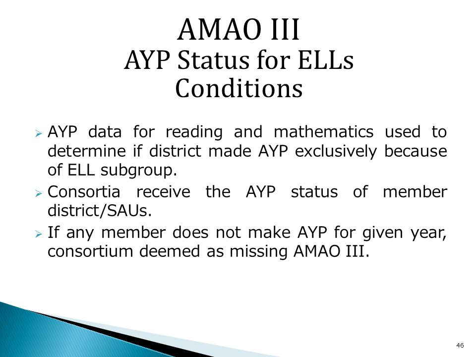 46 AYP data for reading and mathematics used to determine if district made AYP exclusively because of ELL subgroup.