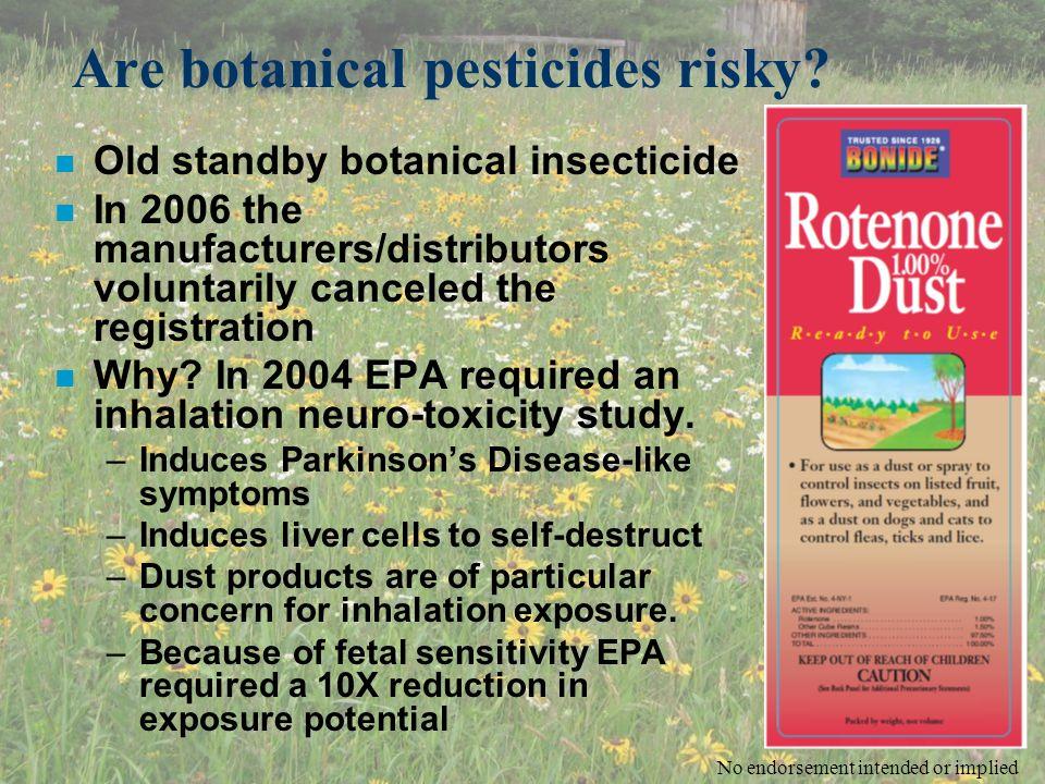 Are botanical pesticides risky.