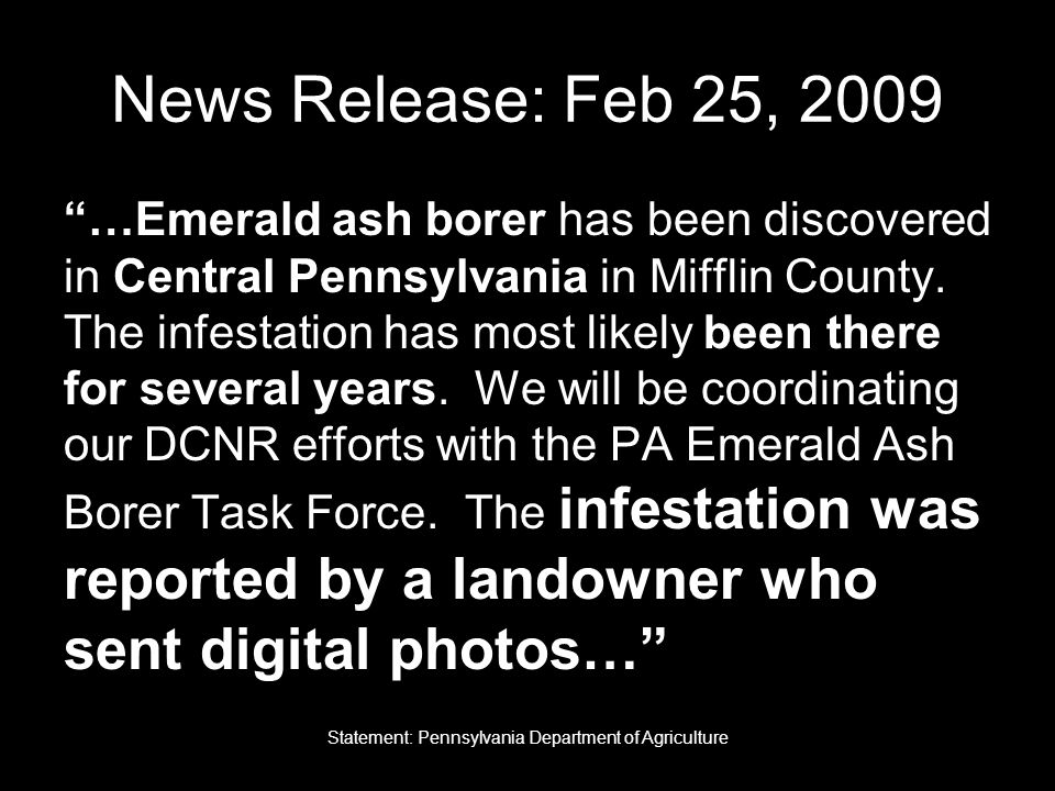 News Release: Feb 25, 2009 …Emerald ash borer has been discovered in Central Pennsylvania in Mifflin County.