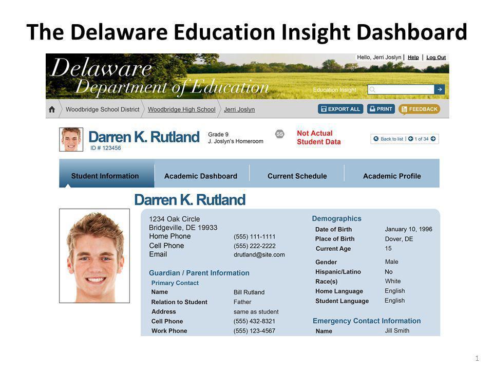 1 The Delaware Education Insight Dashboard