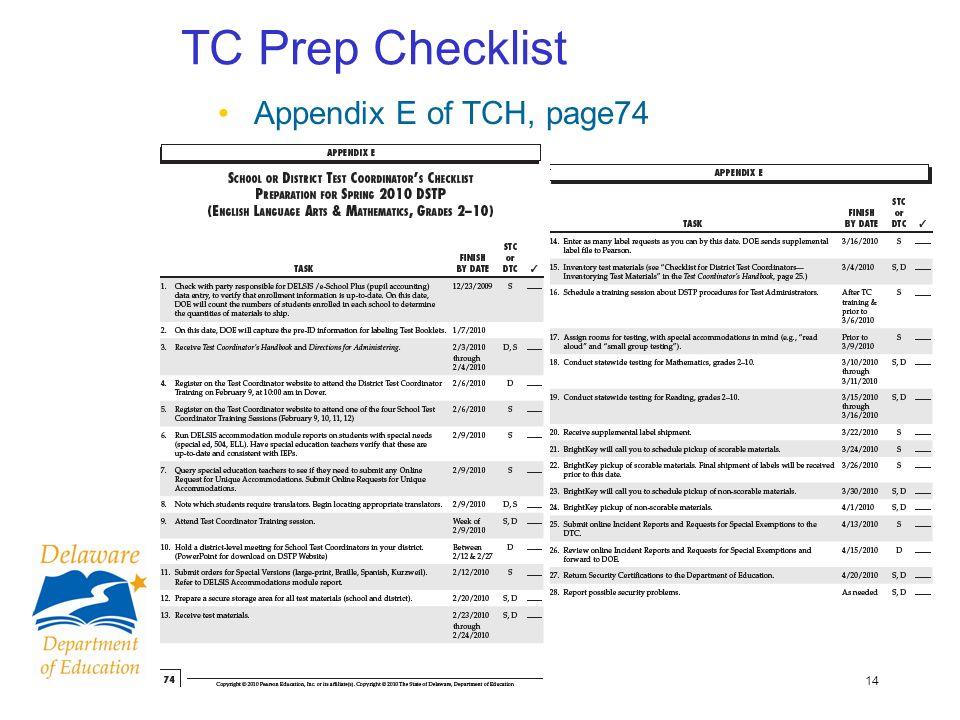 14 TC Prep Checklist Appendix E of TCH, page74